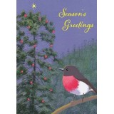 Paula Peeters Christmas Greeting Card - Rose Robin