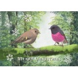 Paula Peeters Christmas Greeting Card - Pink Robin
