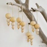 Handmade Wooden Baubles Christmas Decoration (Single Strand)