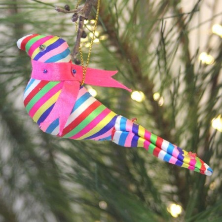 Fair Trade Upcycled Fabric Christmas Decoration - Dove