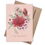Linen Press Christmas Card - Merry Christmas Pink Waratah