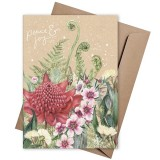 Linen Press Christmas Card - Peace & Joy Waratah
