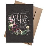 Linen Press Christmas Card - Merry & Bright