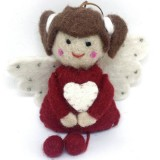 Fairtrade Felt Christmas Decoration - Angel with Pigtails