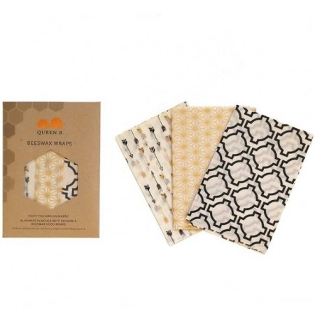 Queen B Beeswax Wraps Large (3pk) - Neutral Pattern