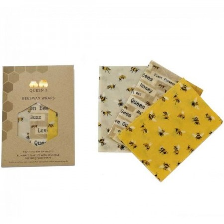 Queen B Beeswax Wraps Large (3pk) - Limited Edition Bees