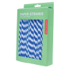 Retro striped paper straws - blue