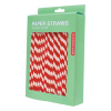 Retro striped paper straws - red