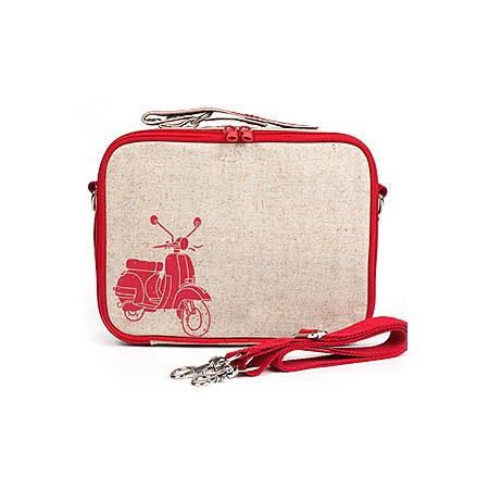 Insulated lunch box - red scooter raw linen by SoYoung