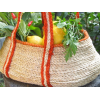 Jute gathering basket - orange trim