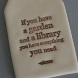 Buy Kylie Johnson ceramic quote tag - garden & library