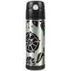 Thermos insulated stainless steel bottle with straw grey
