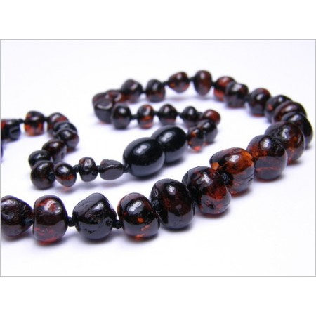 Baltic amber healing necklace - walnut