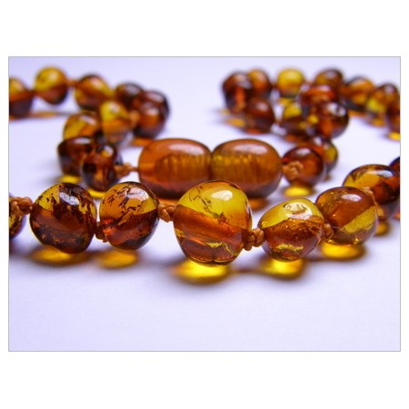 Baltic amber healing necklace - cognac