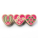 Polli wooden brooch - 3 hearts