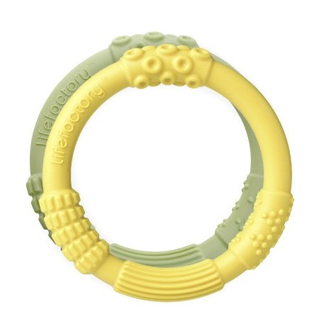 Lifefactory multi-sensory silicone teether duo - yellow/spring green