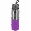 Nathan 0.7L stainless steel flip straw bottle - purple silicon