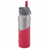 Nathan 0.7L stainless steel flip straw bottle - red silicon