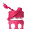 Glass water bottles - 450ml Lifefactory flip-top (raspberry)