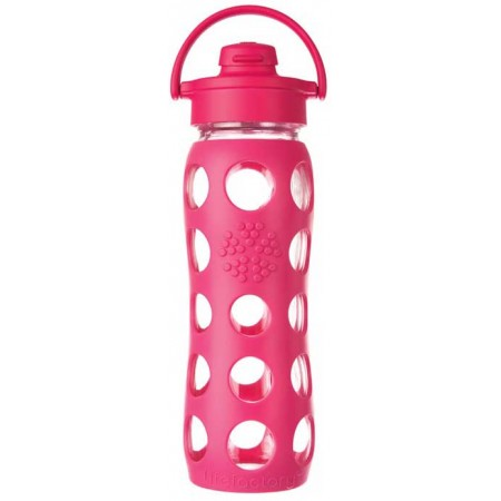 Lifefactory glass bottle flip-top 16oz 475ml - raspberry