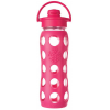 Lifefactory Glass Water Bottle flip-top 16oz 475ml - raspberry