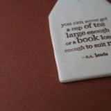 Kylie Johnson ceramic quote tag - cup of tea