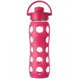 Lifefactory Glass Water Bottle flip-top 22oz 650ml - raspberry