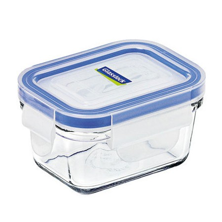 Glasslock container 180ml rectangle blue