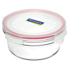Oven safe glass container 450ml round red