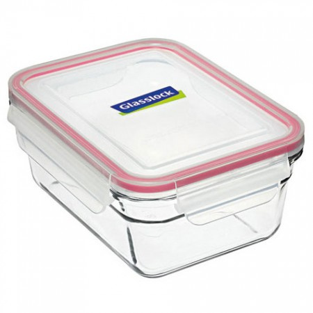 Glasslock oven safe container 970ml rectangle red