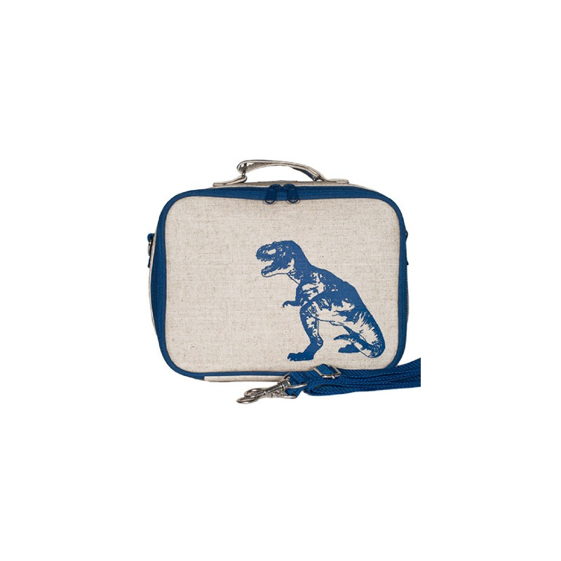 insulated lunch box blue dinosaur raw linen soyoung biome. Black Bedroom Furniture Sets. Home Design Ideas