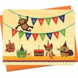 Buy Wooden card - happy birthday critter party