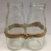 Glass milk bottle - pair with twine (2)