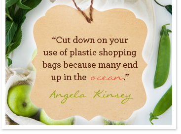 Cut down on your use of plastic shopping bags becuase many end up in the ocean. Angela Kinsey
